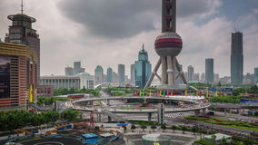 Shanghai city oriental pearl tower square panorama 4k time lapse china. China shanghai city famous oriental pearl tower square panorama 4k time lapse stock video footage