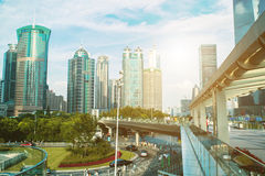 Shanghai city scape in sunset time. Modern enviroment. Stock Photography