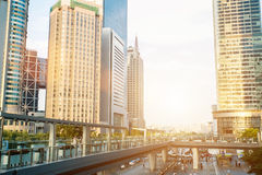 Shanghai city scape in sunset time. Modern enviroment. Royalty Free Stock Photography