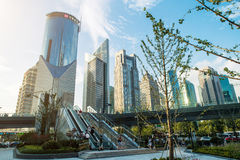 Shanghai city scape in sunset time. Modern enviroment. Stock Photos