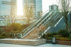 Shanghai city scape in sunset time. Modern enviroment. Stairs. Royalty Free Stock Photo