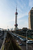 Shanghai city scape. Taken during day time with high rise building visible Royalty Free Stock Image