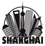 Shanghai City Skyline Black and White Circle Outli. Shanghai China City Skyline Outline Silhouette in Circle Black Isolated on White Background Vector royalty free illustration
