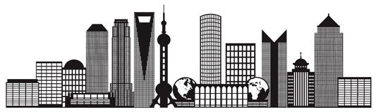 Shanghai City Skyline Black and White Outline Vector Illustration Stock Image