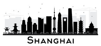 Shanghai City skyline black and white silhouette. Vector illustration. Simple flat concept for tourism presentation, banner, placard or web site. Business stock illustration