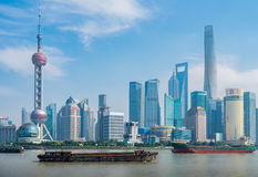 Shanghai City skyline, on The Bund, Shanghai, China Royalty Free Stock Images