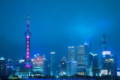 Shanghai city skyline business and travel landmark district urban view at night stock photos