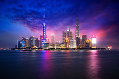 Shanghai city skyline. China Shanghai city skyline at dusk, Shanghai China Royalty Free Stock Image