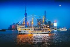 Shanghai city skyline. China Shanghai city skyline at dusk, Shanghai China Stock Photo