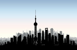 Shanghai city skyline. Chinese urban landscape. Shanghai citysca. Pe with landmarks. Travel China background. Vacation in Asia wallpaper with buildings Royalty Free Stock Image