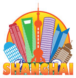 Shanghai City Skyline Color Circle Outline Vector Illustration Stock Images