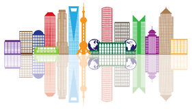 Shanghai City Skyline Color Outline Vector Illustration. Shanghai China City Skyline Outline Silhouette Color with Reflection Isolated on White Background Vector stock illustration