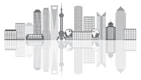Shanghai City Skyline Grayscale Outline Illustration. Shanghai China City Skyline Outline Silhouette Grayscale with Reflection on White Background Vector stock illustration
