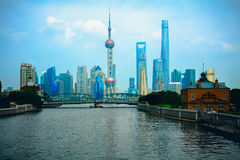 Shanghai city skyline. With historical Waibaidu bridge, Shanghai, China Royalty Free Stock Image