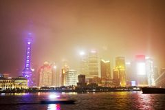 Shanghai city skyline illuminated at night Stock Images