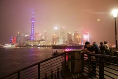 Shanghai city skyline illuminated at night Stock Image