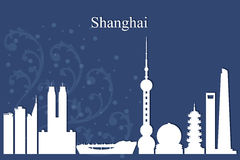 Shanghai city skyline silhouette on blue background Royalty Free Stock Image