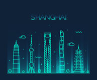 Shanghai City skyline silhouette vector line art. Shanghai City skyline detailed silhouette Trendy vector illustration line art style stock illustration