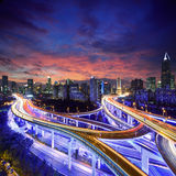 Shanghai City at sunset with light trails Royalty Free Stock Images
