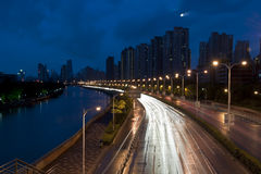 Shanghai City and Suzhou River at night Stock Images