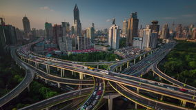 Shanghai city traffic road junction roof top panorama 4k time lapse china. China shanghai city traffic road junction roof top panorama 4k time lapse stock video