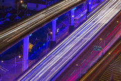 Shanghai city triffic in night Royalty Free Stock Images