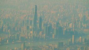 Shanghai city view from the airplane stock video footage