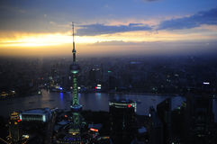 Shanghai city view at night. Bird-eye view of Shanghai city in China at night Royalty Free Stock Photos