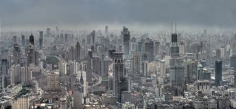 Shanghai Cityscape. Panoramic view of Modern Shanghai, China (Bird-eyed view Stock Photography