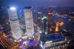 Shanghai cityscape. Bird view at shanghai china, bund (pudong) area, urban scene Royalty Free Stock Photos