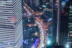 Shanghai cityscape. Bird view at shanghai china, bund (pudong) area, urban scene Stock Images