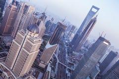 Shanghai cityscape. Bird view at shanghai china, bund (pudong) area, urban scene Stock Photos