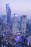 Shanghai cityscape. Bird view at shanghai china, bund (pudong) area, urban scene Royalty Free Stock Photography