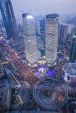 Shanghai cityscape. Bird view at shanghai china, bund (pudong) area, urban scene Royalty Free Stock Image