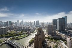 Shanghai cityscape, high angle view. Beautiful scenery on both sides of the suzhou river Stock Image