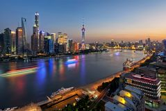 Nightfall of Shanghai. Shanghai cityscape during the nightfall period, on the left side of the Huangpu River is the Lujiazui financial center and on the other Stock Photos