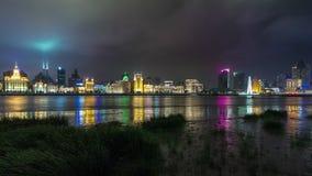 Shanghai cityscape river bay custom house panorama 4k time lapse china. China shanghai nigh light cityscape river bay custom house panorama 4k tim elapse stock video
