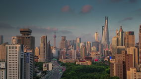Shanghai cityscape sunset roof top panorama 4k time lapse china. China shanghai cityscape sunset famous roof top panorama 4k time lapse stock footage