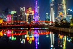 Shanghai Cityscape with Waibaidu Bridge in China Stock Photos