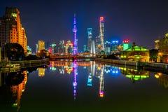 Shanghai Cityscape with Waibaidu Bridge in China Royalty Free Stock Photography