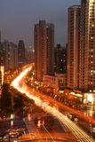 Shanghai Crossroads. Night shot of an intersection in Shanghai, China stock photography