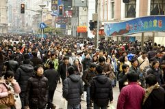 Shanghai - crowded city center stock photography