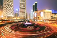 Shanghai-Datenbahn nachts Lizenzfreies Stockbild