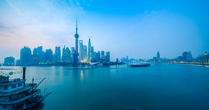 Shanghai dawn panoramic stock photos