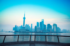 Shanghai dawn with railing Royalty Free Stock Image