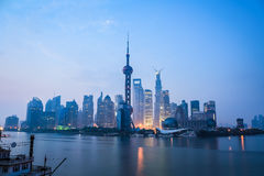 Shanghai in daybreak. Tranquil view of the modern city skyline,China Royalty Free Stock Photography