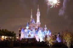 Shanghai Disney castle firework stock images