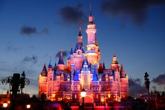 Shanghai Disney Castle. At night royalty free stock photo
