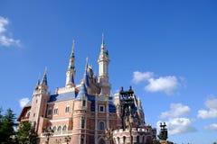 Shanghai Disney Castle. Under blue sky Stock Photo