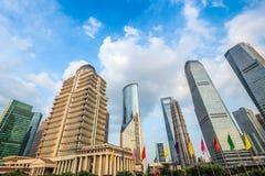 Shanghai downtown against a blue sky Stock Photo